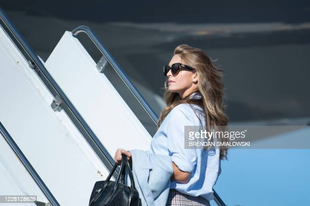 Counselor to the US president Hope Hicks boards Air Force One at Wilkes-Barre Scranton International Airport August 20 in Avoca, Pennsylvania.