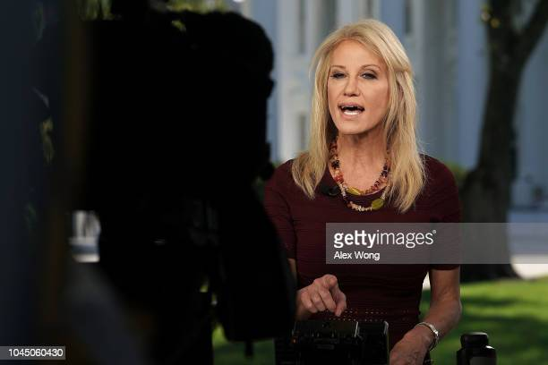 Counselor to US President Donald Trump Kellyanne Conway participates in a TV interview October 3 2018 at the White House in Washington DC New York...