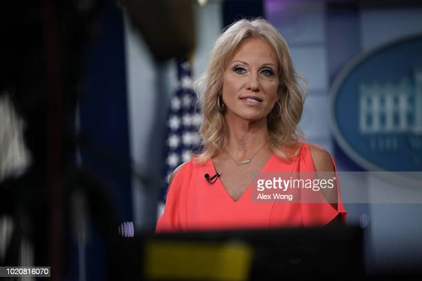 Counselor to US President Donald Trump Kellyanne Conway speaks during an interview with Fox News Channel at the James Brady Press Briefing Room of...