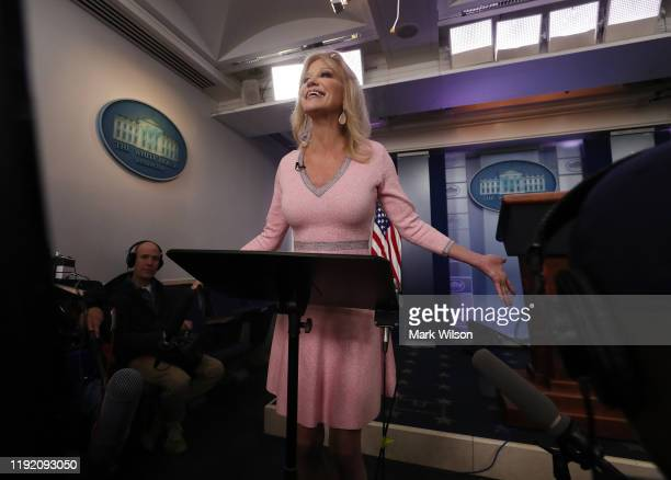 Counselor to US President Trump Kellyanne Conway speaks to the media in the Brady Briefing Room at the White House on December 5 2019 in Washington...