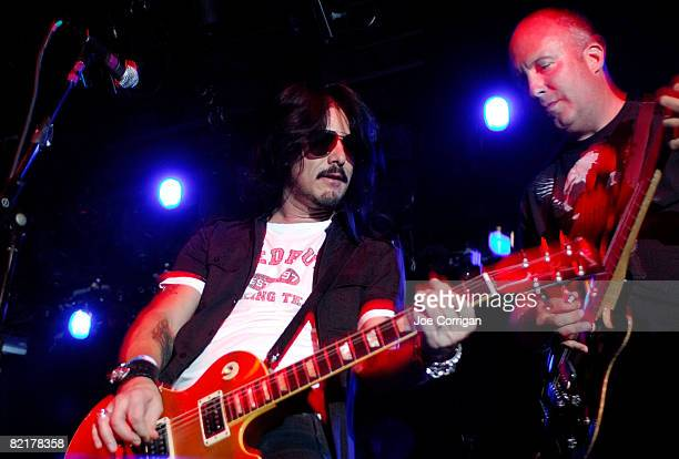 Counselor/former rhythm guitarist of Guns N Roses and record producer Gilby Clarke performs with fantasy camp attendees at The Fillmore New York at...