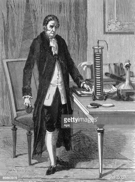 Count Alessandro Volta Italian physicist invented the electro motor or the electric battery in 1799 to burn Yan Dargent from the book 'Album of...