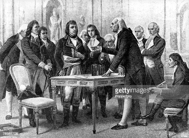 Count Alessandro Volta the Italian physicist and inventor presenting his voltaic pile to Napoleon Bonaparte his first Consul