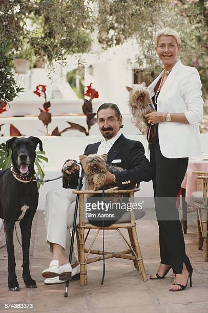 Count and Countess Jaime de Mora y Aragon with their dogs at their farm near Marbella Spain 1980