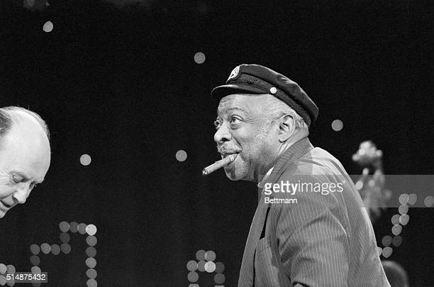 Count Basie rehearses his orchestra for his concert at Carnegie Hall.