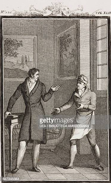 Count Belpoggio ordering the cook to prepare lunch engraving by Antonio Viviani from a drawing by G Steneri from Il festino Act I Scene 7 Comedies...
