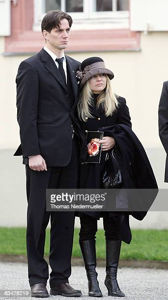 Count Bjoern Bernadotte and Sandra Angerer are seen after a funeral service for countess Sonja Bernadotte at Mainau Castle on October 25 2008 on...