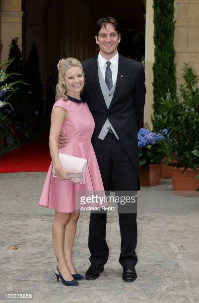 Count Bjoern Bernadotte and wife Countess Sandra attend the religious wedding ceremony of Georg Friedrich Ferdinand Prince of Prussia to Princess...