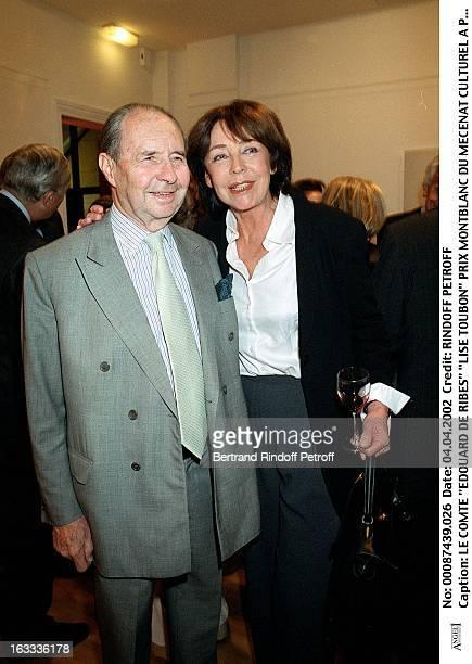 Count Edouard De Ribes Lise Toubon Montblanc awards ceremony of cultural patronage in Paris