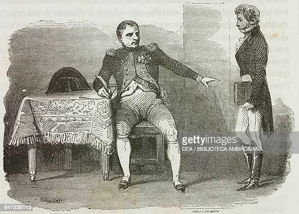 Count Emmanuel de Las Cases bringing Napoleon a letter of protest against his exile on St Helena, 4 August 1815, illustration from the first Italian...