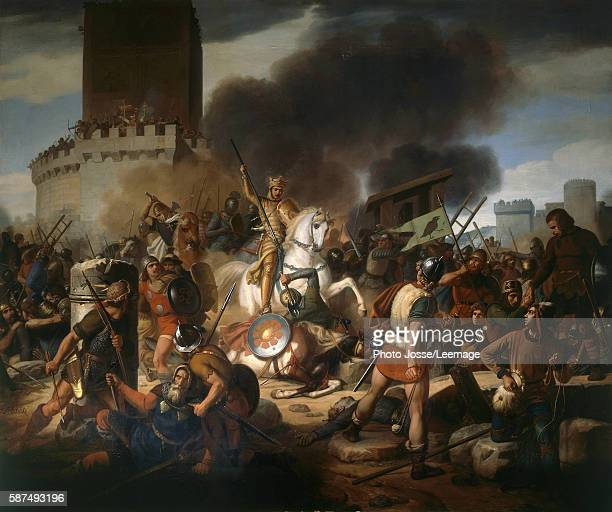 Count Eudes defending Paris against the Normans in 886 Painting by JeanVictor Schnetz 19th century Oil on canvas 465 x 542 m Castle Museum Versailles...