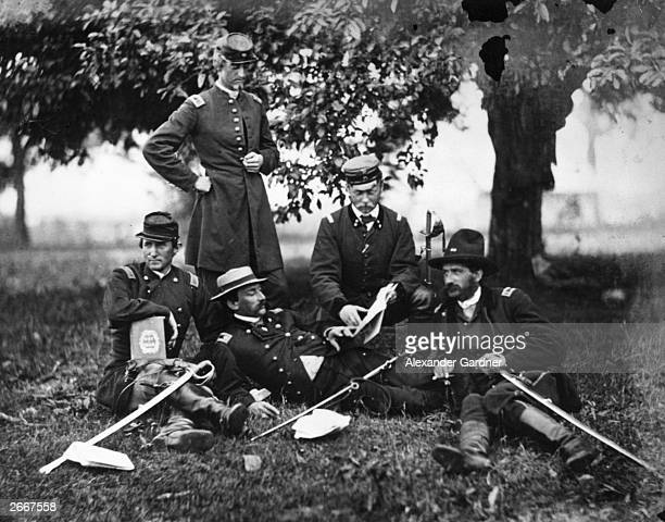 Count Ferdinand Zeppelin of Germany second right with members of the Union army on a visit to the battle fields during the American Civil War