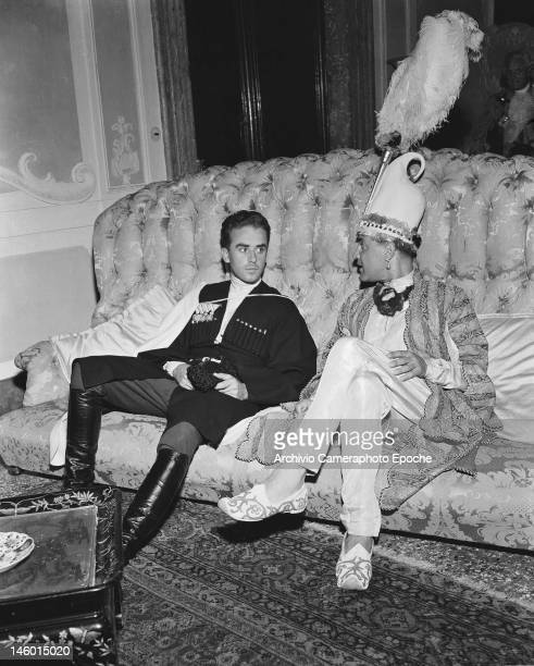 Count Gino Valmarana and a Mr Frisco at a masked costume ball at the Palazzo Labia Venice 3rd September 1951 Named 'Le Bal Oriental' and described in...