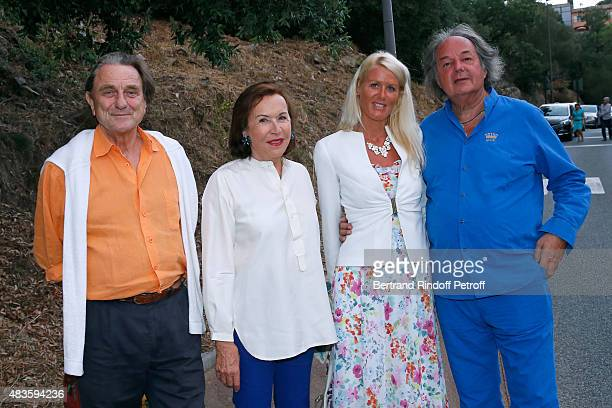 Count Girolamo Marcello Francoise Gallimard Alice Bertheaume and her companion Gonzague SaintBris attend the 'Fabrice Luchini Poesie ' show during...