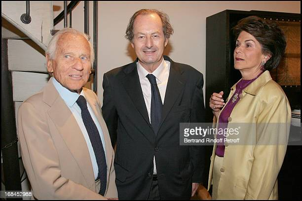 Count Jean D'Ormesson his wife and Jean Marie Rouart at Opening Exhibition of Photographs And Writings By Marina Cicogna At Galerie Du Passage In...