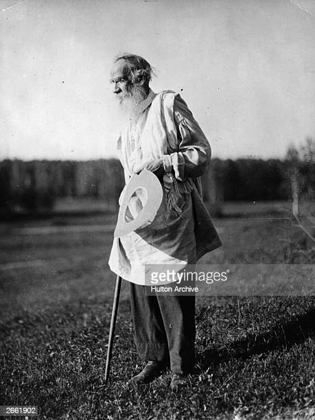Count Leo Nikolayevich Tolstoy the Russian writer, aesthetic philosopher, moralist and mystic inspecting the estate after a bathe in the lake....