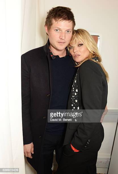 Count Nikolai von Bismarck and Kate Moss attend the launch of the Kate Moss For Equipment x NETAPORTER collection on June 1 2016 in London England