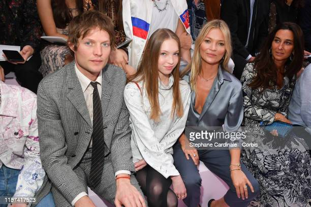 Count Nikolai von Bismarck and Kate Moss with her daughter Lila Grace Moss Hack attend the Dior Homme Menswear Spring Summer 2020 show as part of...