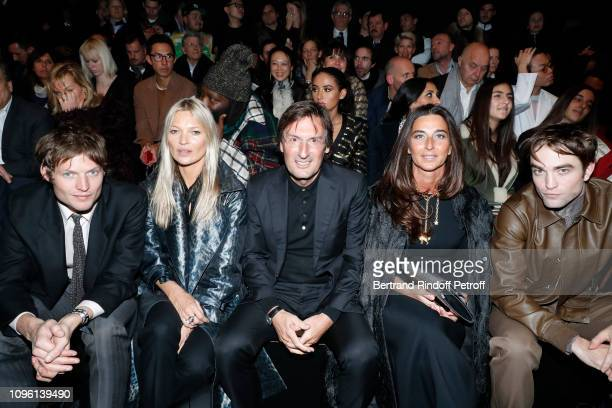 Count Nikolai von Bismarck Model Kate Moss CEO of Dior Pietro Beccari his wife Elisabetta Beccari and Robert Pattinson attend the Dior Homme Menswear...