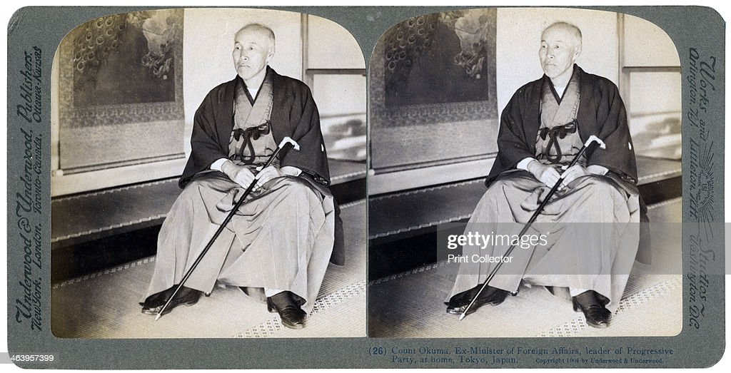 Count Okuma, ex-Minister of Foreign Affairs, leader of the Progressive Party, Tokyo, Japan, 1904.Artist: Underwood & Underwood : News Photo