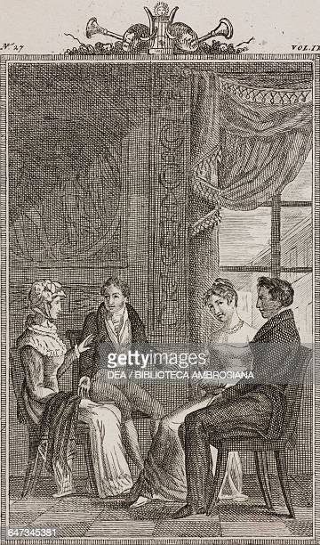 Count Ottavio Eleonora Florindo and Rosaura engraving by G Zuliani from a drawing by G Steneri from The Knight of good taste Act II Scene 7 Comedies...