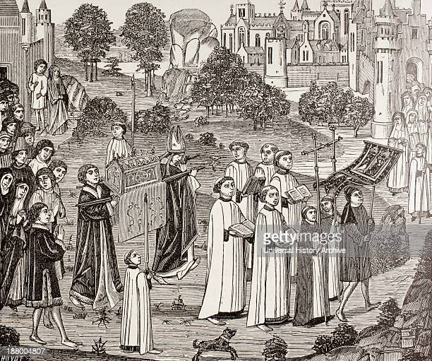 Count Renier Bearing The Body Of Saint Veronica To St Waudru Church In Mons After A 15Th Century Miniature From Military And Religious Life In The...