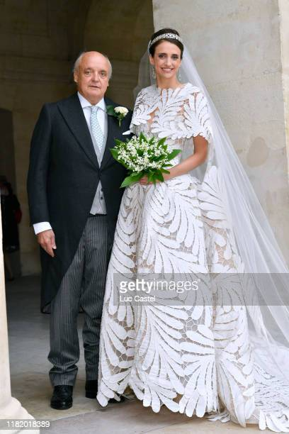 Count Riprand von Arco-Zinneberg and his daughter Countess Olympia Von Arco-Zinneberg attend the Wedding of Prince Jean-Christophe Napoleon and...