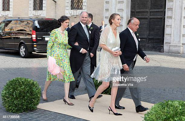 Count Riprand von und zu ArcoZinneberg and Countess Marie Beatrice von und zu ArcoZinneberg arrive at the wedding of Prince Amedeo Of Belgium and...