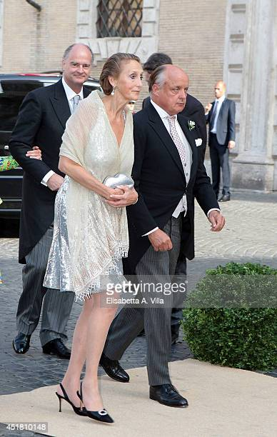 Count Riprand von und zu ArcoZinneberg and Countess Marie Beatrice von und zu ArcoZinneberg attend the wedding of Prince Amedeo of Belgium and...