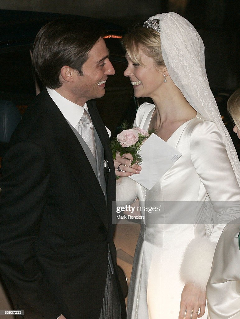 Count Rodolphe of Limburg-Stirum and Archduchess Marie-Christine of Austria leave Saint Rombouts Cathedral after their wedding on December 06 2008 in Mechelen Belgium.