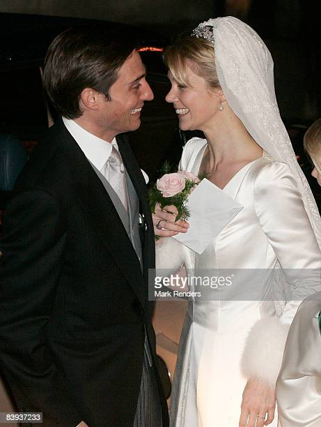 Count Rodolphe of Limburg-Stirum and Archduchess Marie-Christine of Austria leave Saint Rombouts Cathedral after their wedding on December 06 2008 in...