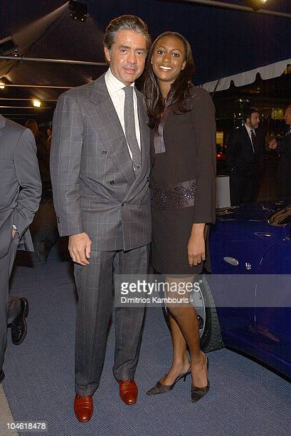 Count Roffredo Gaetani & guest during The Return Of Maserati To America at Four Seasons Restaurant in New York City, New York, United States.