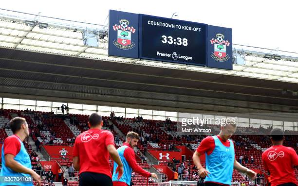 Countdown clock ahead of the Premier League match between Southampton and Swansea City at St Mary's Stadium on August 12 2017 in Southampton England