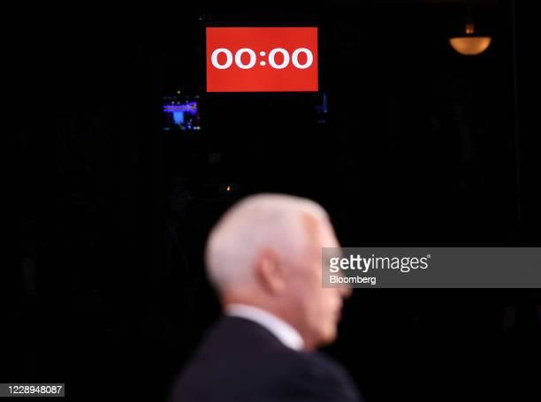 Countdown clock displayed above U.S. Vice President Mike Pence during the U.S. Vice presidential debate at the University of Utah in Salt Lake City,...