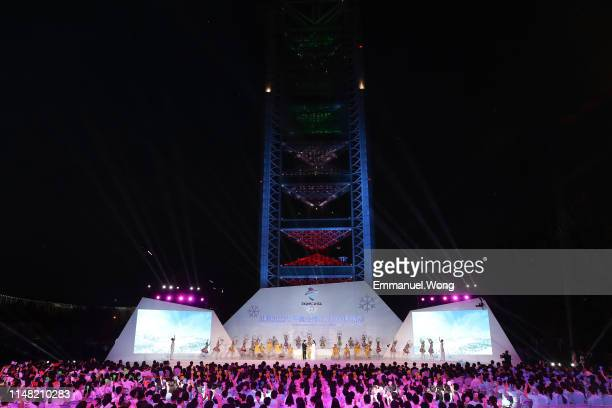 Countdown digital board is unveiled during the 1000-day Countdown to the Opening Ceremony of the Beijing 2022 Olympic Winter Games on May 10, 2019 in...