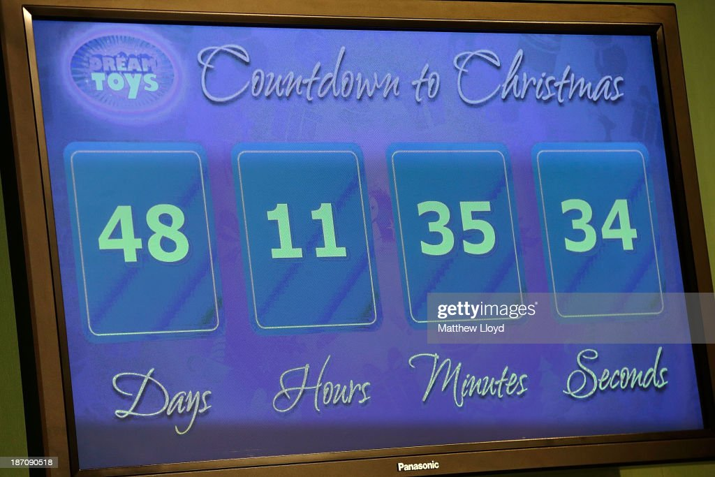 A 'Countdown to Christmas' digital display board is displayed at a media event at St Mary's Church in Marylebone on November 6, 2013 in London, England. The Toy Retailers Association's Dream Toys chart, is an independent list of the predicted Christmas top 12 best-selling gifts for children.