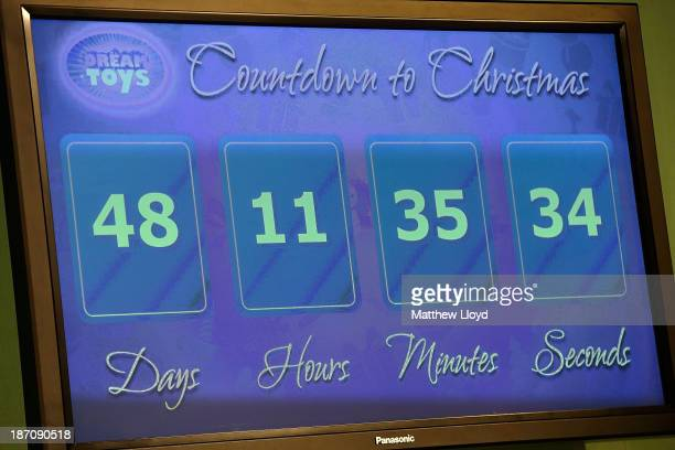 A 'Countdown to Christmas' digital display board is displayed at a media event at St Mary's Church in Marylebone on November 6 2013 in London England...