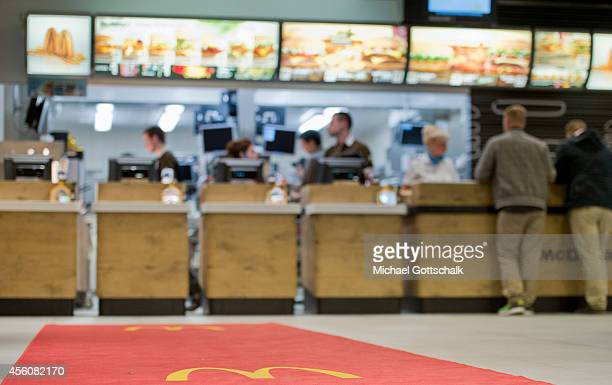 A counter and logo in a McDonalds restaurant in Europes biggest shopping centre the Mall of Berlin on its opening day on September 25 2014 in Berlin...