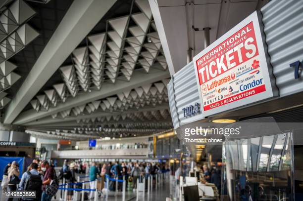 Counter for tickets pictured at Frankfurt Airport during the novel coronavirus pandemic on June 15, 2020 in Frankfurt am Main, Germany. Countries...