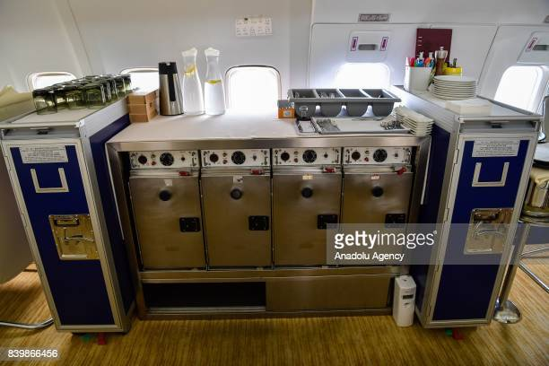 A counter is seen inside of a Boeing 737 which is used for a restaurant at Guanggu Walking Street in Wuhan of Hubei Province China on August 27 2017...