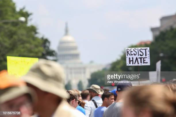 Counter protesters gather at Freedom Plaza before the Unite the Right rally in Lafayette Park on August 12 2018 in Washington DC Thousands of...