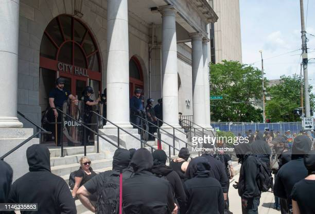 Counter protesters gather en masse to protest against a rally held by the KKK affiliated group Honorable Sacred Knights of Indiana at Courthouse...