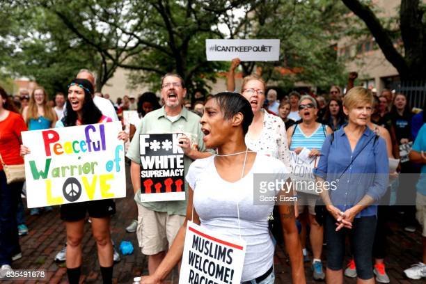 Counter protesters gather in Roxbury before marching to a planned 'Free Speech Rally' on Boston Common on August 19, 2017 in Boston, Massachusetts....
