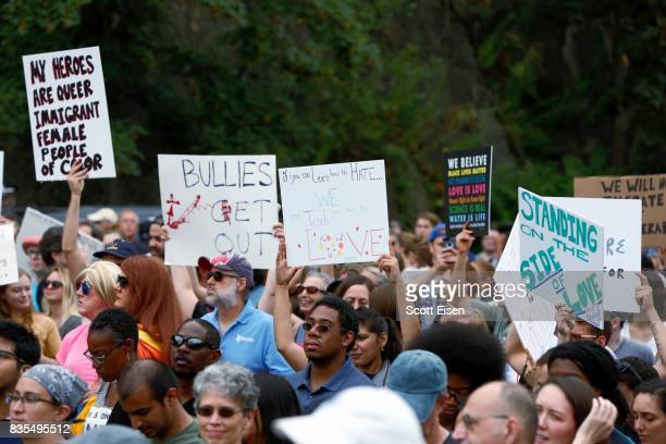 Counter protesters gather in Roxbury before marching to a planned 'Free Speech Rally' on Boston Common on August 19 2017 in Boston Massachusetts...