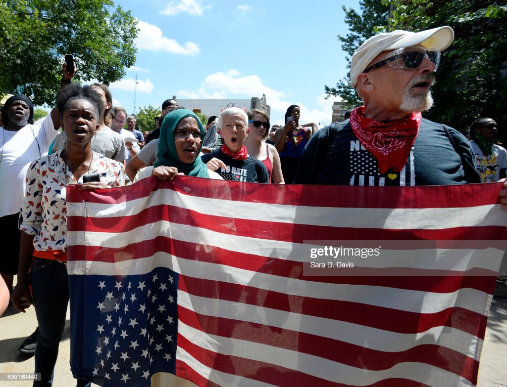 Counter protesters march against a potential white supremacists rally on August 18, 2017 in Durham, North Carolina. The demonstration comes a week after a fatal clash during a 'Unite the Right' rally between white supremacists and counter protesters in Charlottesville, Virginia.
