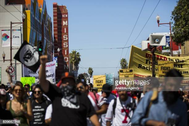 Counter protesters march down Laguna Street towards the Mission District in opposition of the cancelled Patriot Prayer rally in San Francisco...