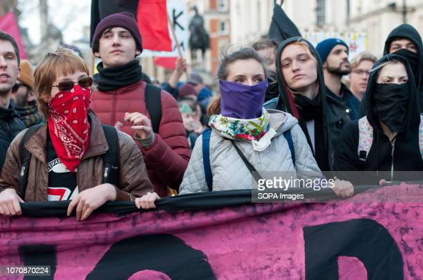 Counter protesters seen holding a large banner during a demonstration against the 'Brexit Betrayal March' Thousands of people took to the streets in...