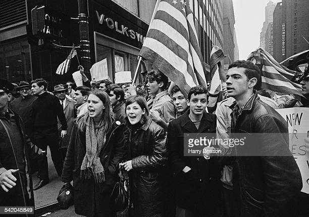 Counter protesters show their support for the war during an antiVietnam War demonstration in New York City USA 1967