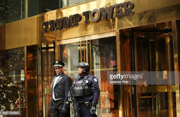 A counter terrorism officer stands in front of Trump Tower in Manhattan on March 20 2017 in New York City Senate Minority Leader Chuck Schumer has...