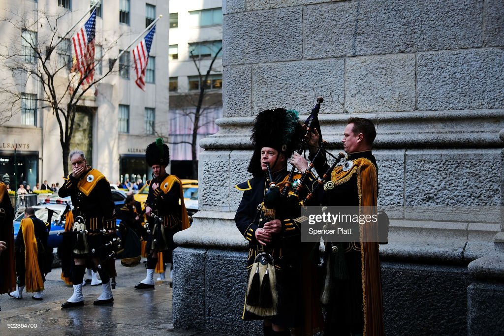 Counter terrorism police stand guard outside of St. Patrick's Cathedral as a memorial Mass is held for NYPD Officer Edward Byrne almost 30 years after he was executed by a drug gang on February 21, 2018 in New York City. The murder of the 22 year old officer, by a notorious drug dealer Howard (Pappy) Mason as he guarded the Queens home of a witness, shocked the city for its brutality.